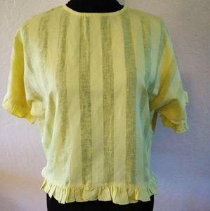 Tops - ZARA/Spring Yellow linen blouse with ruffle hems
